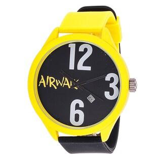 Airwalk Analog Yellow Case Black Silicone Watch