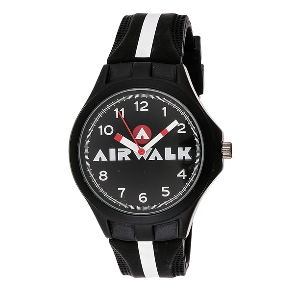 Airwalk Analog Black and White Striped Watch