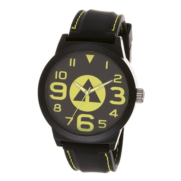Airwalk 'AWW-5082-YE' Yellow Logo Dial Black Silicone Strap Analog Watch