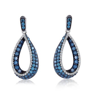 Platinum over Silver 2 5/8ct TDW Blue Treated and White Diamond Dangle Earrings (H-I, I1-I2)