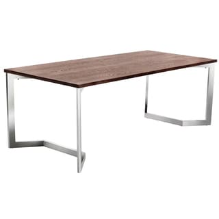 Sunpan Revolver Walnut Top and Stainless Steel Dining Table