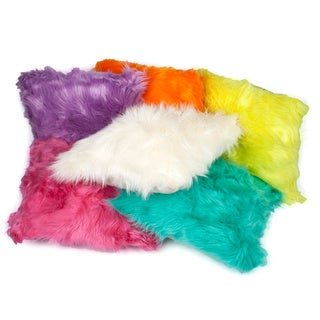 Luxury Longhair Mongolian Faux Fur 16-inch Throw Pillows (Set of 2)