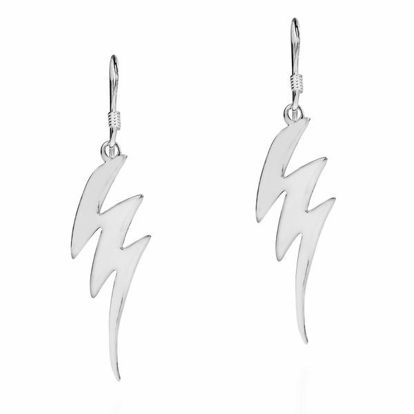 Edgy Zigzag Lightning Bolts 925 Silver Dangle Earrings (Thailand)