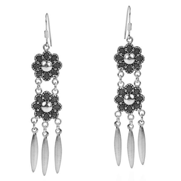 Tribal Inspired Double Flower Drop .925 Silver Earrings (Thailand)