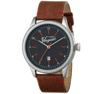Penguin Men's OP4965BR James II Black Dial Leather Strap Watch