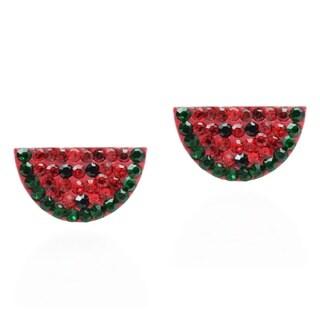 Cute Watermelon Cubic Zirconia Stud .925 Silver Earrings (Thailand)