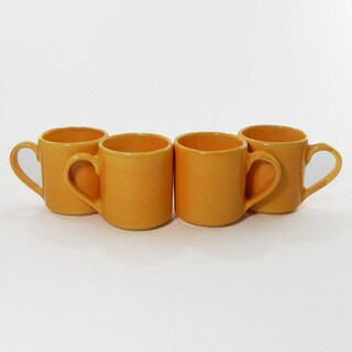Le Souk Ceramique Set of 4 Solid Yellow Design Coffee Mugs (Tunisia)
