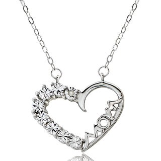 DB Designs Sterling Silver Diamond Accent 'Mom' Heart Necklace