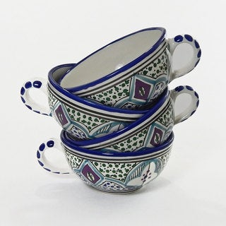 Le Souk Ceramique Set of 4 Malika Design Latte/ Soup Mugs (Tunisia)