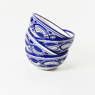 Le Souk Ceramique Set of 4 Qamara Design Soup/ Cereal Bowls (Tunisia)
