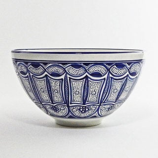 Le Souk Ceramique Qamara Design Deep Salad Bowl (Tunisia)