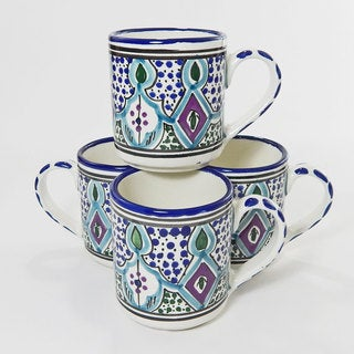 Le Souk Ceramique Set of 4 Malika Design Coffee Mugs (Tunisia)