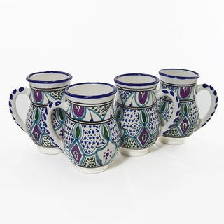 Le Souk Ceramique Set of 4 Malika Design Large Mugs (Tunisia)