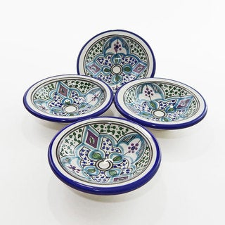 Le Souk Ceramique Set of 4 Malika Design Round Sauce Dishes (Tunisia)