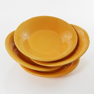 Le Souk Ceramique Set of 4 Solid Yellow Design Pasta/ Salad Bowls (Tunisia)