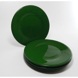 Le Souk Ceramique Set of 4 Solid Green Design Dinner Plates (Tunisia)