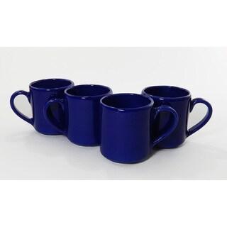 Le Souk Ceramique Set of 4 Solid Blue Design Coffee Mugs (Tunisia)