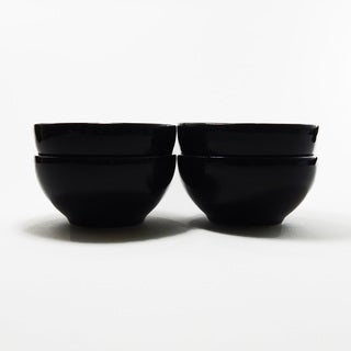 Le Souk Ceramique Set of 4 Solid Black Design Soup/ Cereal Bowls (Tunisia)