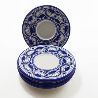 Le Souk Ceramique Set of 4 Qamara Design Saucers (Tunisia)