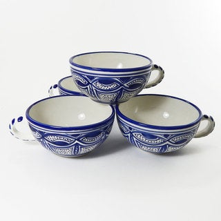 Le Souk Ceramique Set of 4 Qamara Design Latte/ Soup Mugs (Tunisia)