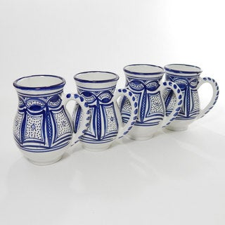 Le Souk Ceramique Set of 4 Qamara Design Large Mugs (Tunisia)