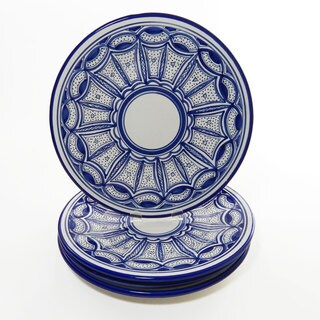 Le Souk Ceramique Set of 4 Qamara Design Dinner Plates (Tunisia)