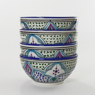 Le Souk Ceramique Set of 4 Malika Design Soup/ Cereal Bowls (Tunisia)