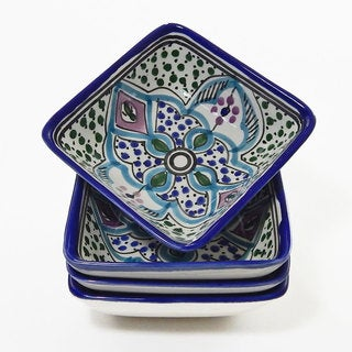Le Souk Ceramique Set of 4 Malika Design Square Sauce Dishes (Tunisia)