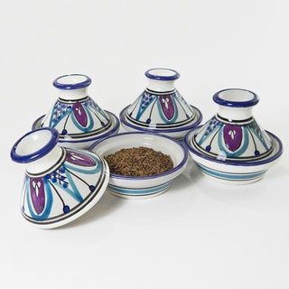 Le Souk Ceramique Set of 4 Malika Design Mini Tagines (Tunisia)