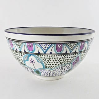 Le Souk Ceramique Malika Design Deep Salad Bowl (Tunisia)