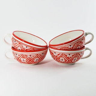 Le Souk Ceramique Set of 4 Nejma Design Latte/ Soup Mugs (Tunisia)