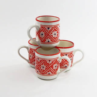 Le Souk Ceramique Set of 4 Nejma Design Coffee Mugs (Tunisia)