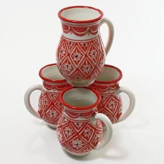 Le Souk Ceramique Set of 4 Nejma Design Large Mugs (Tunisia)