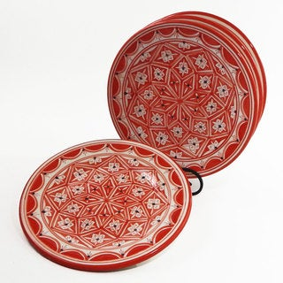 Le Souk Ceramique Set of 4 Nejma Design Dinner Plates (Tunisia)