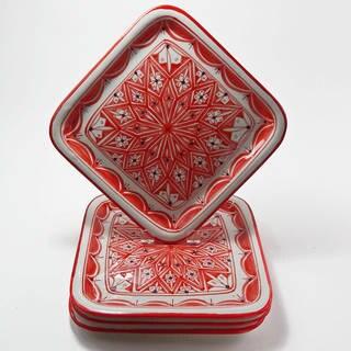 Le Souk Ceramique Set of 4 Nejma Design Square Plates (Tunisia)