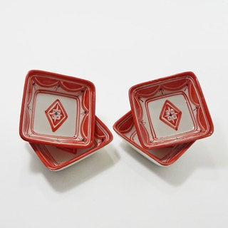 Le Souk Ceramique Set of 4 Nejma Design Square Sauce Dishes (Tunisia)