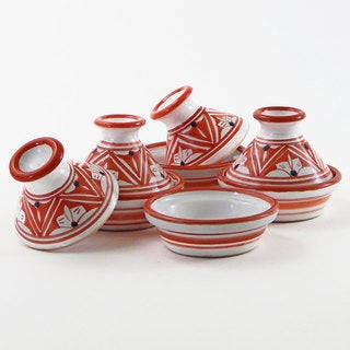 Le Souk Ceramique Set of 4 Nejma Design Mini Tagines (Tunisia)