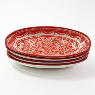 Le Souk Ceramique Set of 4 Nejma Design Small Oval Platters (Tunisia)