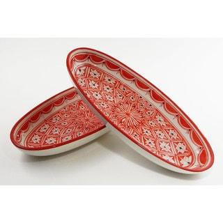 Le Souk Ceramique Set of 2 Nejma Design Large Oval Platters (Tunisia)