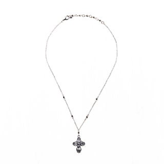 Silver Cross and Grey Bead 16-inch Necklace (China)