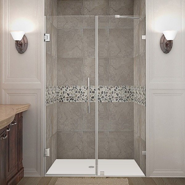 Aston Nautis 47-in x 72-in Completely Frameless Hinged Shower Door in Chrome