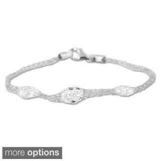 La Preciosa Sterling Silver 'Hidden Crystals' Mesh Bracelet