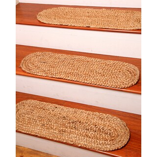Natural Area Rugs Hand-braided Cameron Jute Stair Tread ('9 x 2'5) (Set of 13)