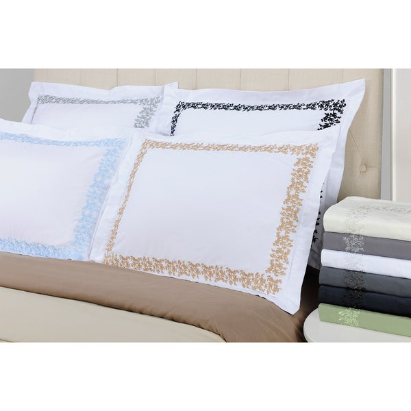 Luxor Wrinkle Resistant Embroidered Floral Lace Duvet Cover Set with Gift Box