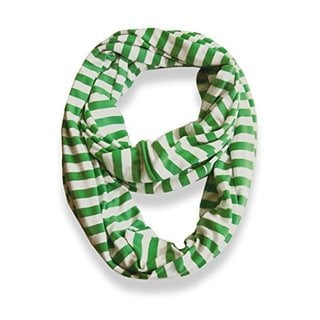 Lightweight Green/ White Striped Jersey Infinity Loop Scarf