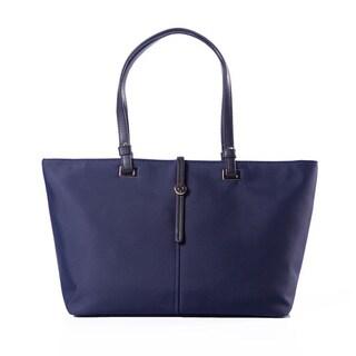 Dark Blue Faux Leather Zip-top Handbag