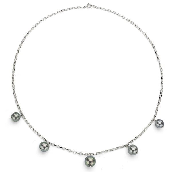 DaVonna Sterling Silver Black Tahitian Pearl Tin Cup Necklace (8-11 mm) 14960934