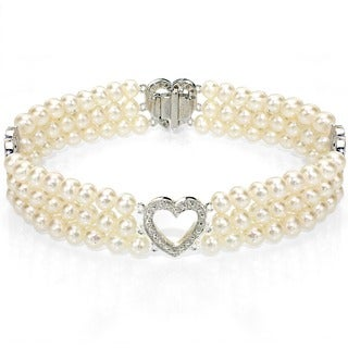 DaVonna 14k White Gold Cultured Pearl Illusion 3-row Bracelet