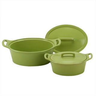 OmniWare Citron Oval Casserole Dish with Lid (Set of 2)