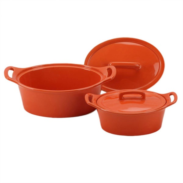 OmniWare Orange Oval Casserole Dish with Lid (Set of 2)